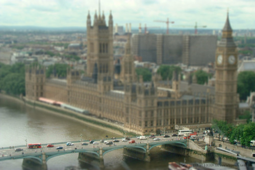 Tilt & Shift #13  Westminster Bridge by the Houses of Parliament as viewed from the London Eye.