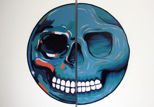 'Skullball' Collaboration with Olivier Vrancken (spraypaint & acrylic on canvas, 2x 100x70)