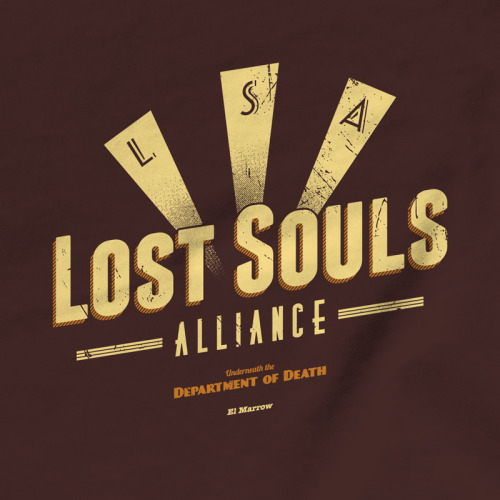 Lost Souls Alliance T-shirt inspired by Grim FandangoThis design is a limited edition of just 250. Each t-shirt/hoodie comes with an original GamerPrint Collector's Card, personalised with your name and displaying the edition number of your item.