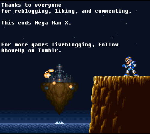 aboveup:  Thanks to everyone for being awesome! All of the Mega Man X posts are neatly categorized on my Tumblr. So do check it out if you came in later into the game.