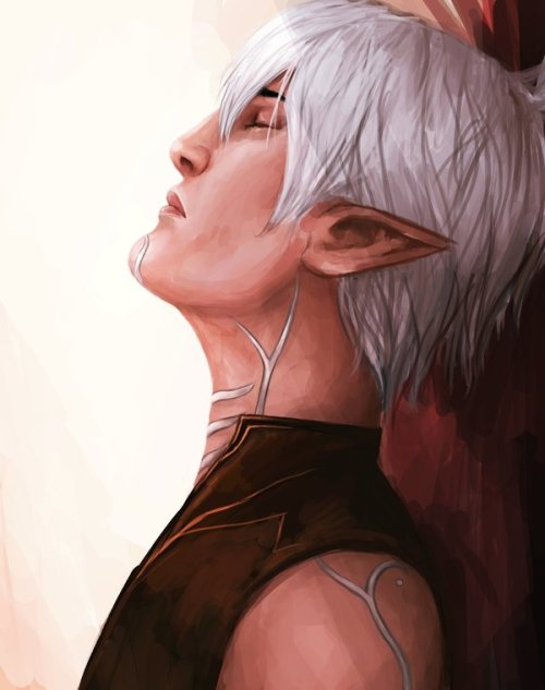 magesmagesmages:  shadow-clone19:  Fenris by ~MarikaCzajkowa  I love this so much. Really captures his… FENRIS-NESS. and by Fenrisness I mean broodiness.