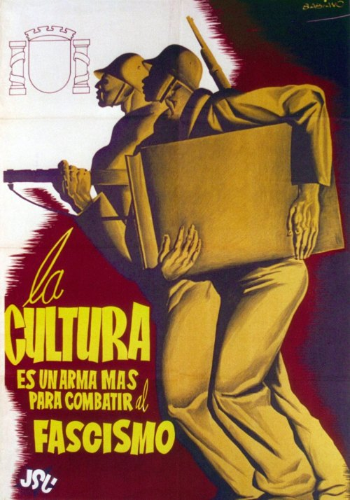 Babiano. Culture is a weapon to fight against fascism. (United Socialist Youth, 1936)  (HT Dieselpunks | Spanish Civil War Posters)