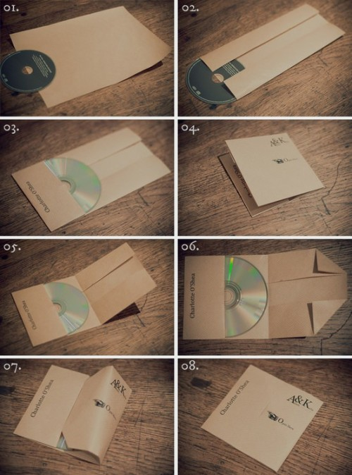 (via Bookbinding / DIY CD covers)