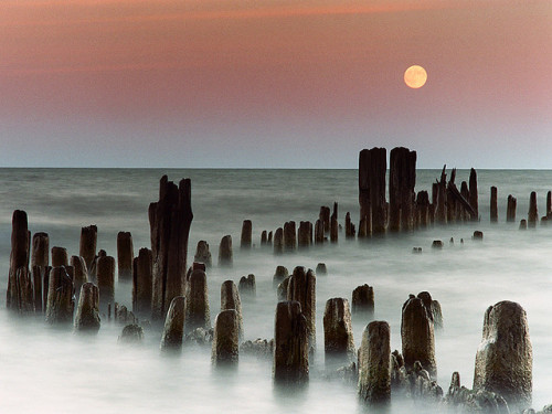 Moonrise at Evanston, Illinois by James Jordan on Flickr.