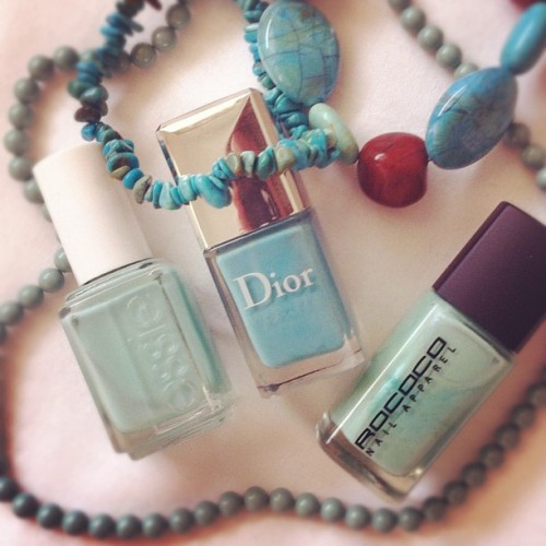 So in love with #dior #saintTropez #nailpolish 💙💚💙 it's the prefect mix of blue/green, a soft greeny/turquoise, more blue than #essie #turquoise&caicos & #rococo #jadedLuxe I don't have more blue that close 2 it  (Taken with instagram)