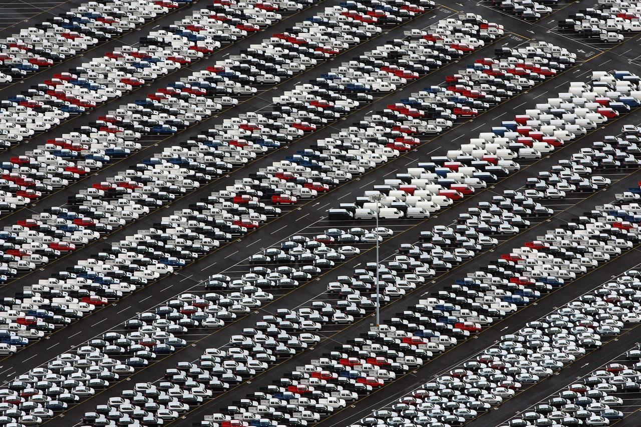 Unsold Hondas at a vehicle storage area in Sheerness, England.