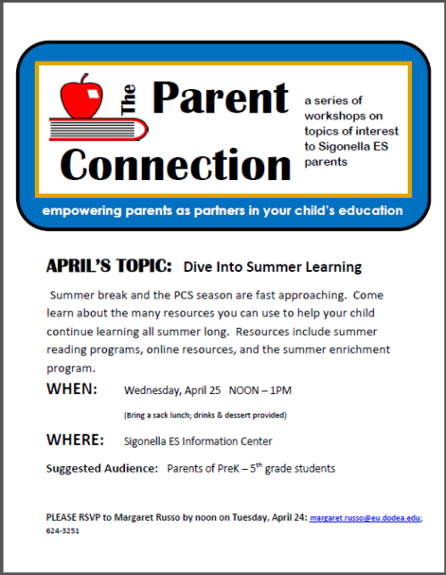 Parent Connection Meeting - April 25th