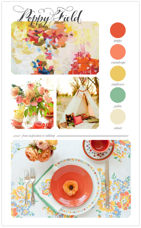 inspi-idea:  Bright, spring tabletop inspiration from Antiquaria | Ceremony & Reception, Cocktail + Dinner Parties | 100 Layer Cake