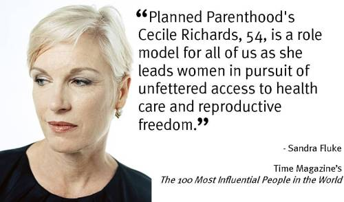 For the 2nd year in a row, Cecile Richards, president of Planned Parenthood Federation of America and the Planned Parenthood Action Fund was named to Time's The 100 Most Influential People in the World list.  Pass it on!