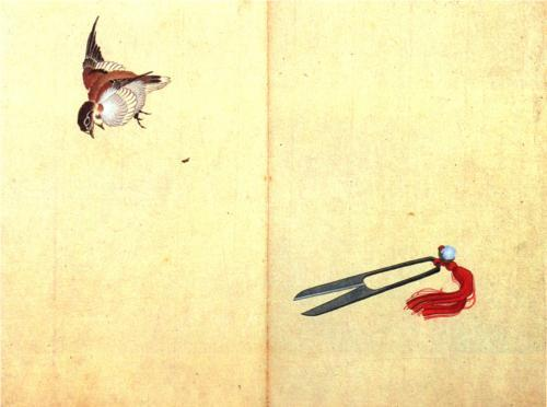 Katsushika Hokusai, Pair of scissors and sparrow