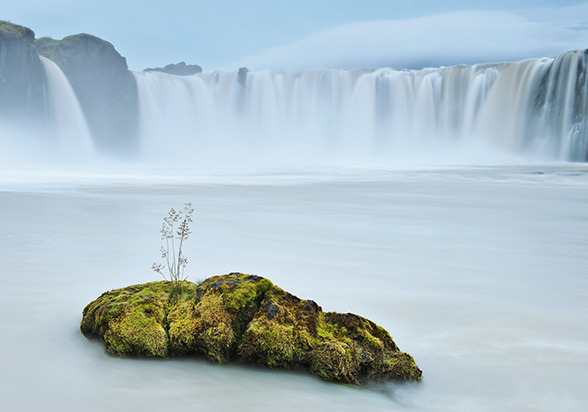 "Gođafoss, Iceland A glacial torrent pours over a 40-foot-high ledge at Gođafoss, ""waterfall of the gods.""  -National Geographic Online"