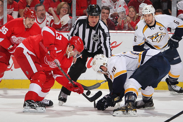 Detroit's Pavel Datsyuk faces off with Nashville's Paul Gaustad during Game Four of the Western Conference Quarterfinals at Joe Louis Arena. The Predators won 3-1 and have a 3-1 lead in the series. Game Five will be played Friday night in Nashville. (Dave Reginek/NHLI via Getty Images) VIDEO: Watch highlights of Tuesday's Nashville-Detroit game