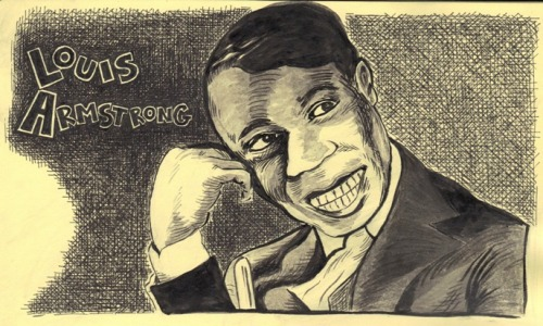 Drawing of Louis Armstrong, circa early 1930s, from my sketchbook.