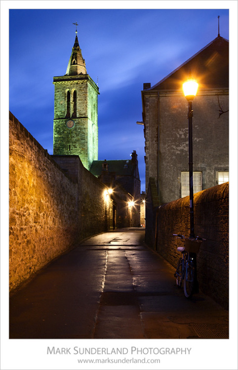 Butts Wynd and St Salvators University Chapel at Dusk, St Andrews, Fife, Scotland