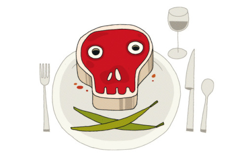 a tasty illustration for a slate article about a dinner party featuring rancid food, and the types and likelihood of actually getting food poisoning. delicious. slate: poison party, by anastacia marx de salcedoad: natalie matthews-ramo  Original Article