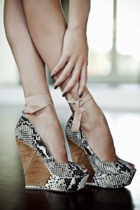Lanvin Snakeskin wedges Coco Bliss on Pinterest