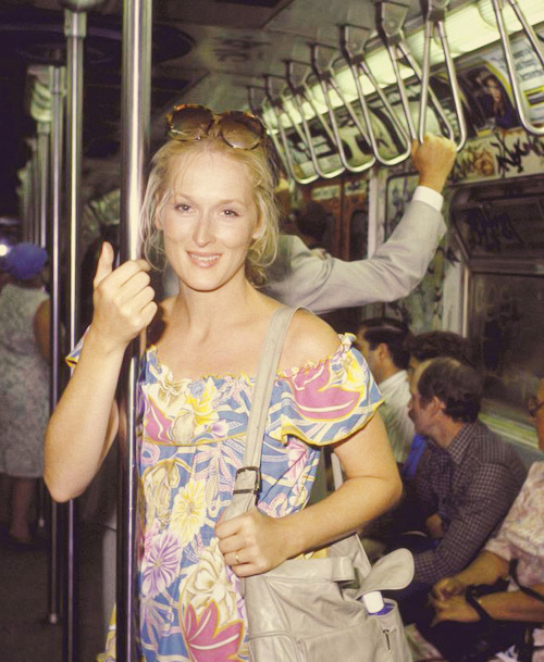 thejewishprincess:   Meryl StreepNYC Subway   her cheek bones are goddess like