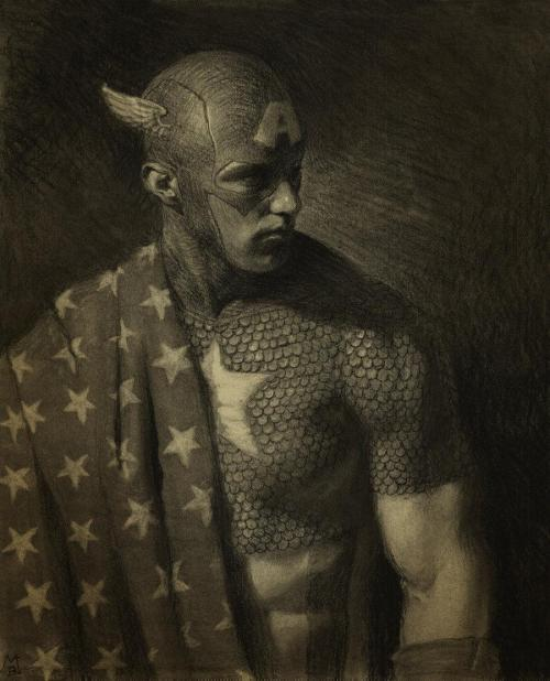 Amazing Cap drawing.   fer1972:  Captain America by Matt Buck