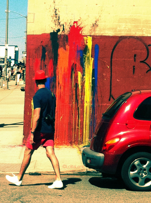 """…and red all over.""   There's a section of Williamsburg, Brooklyn that is filled with all kinds of unique street art. These vibrant splashes of paint was amongst my favorites!"