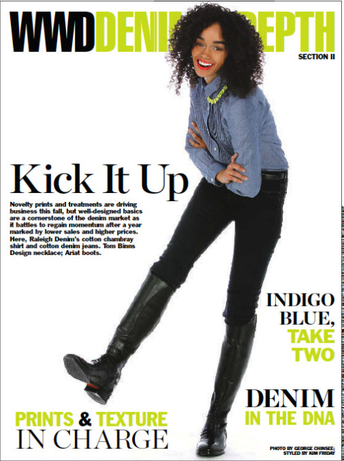 raleighworkshop:   We're on the cover of Denim in Depth in WWD - Women's Wear Daily today!!She's wearing the Union Straight Black Wax jean + our Tux Buttonup in Chambray