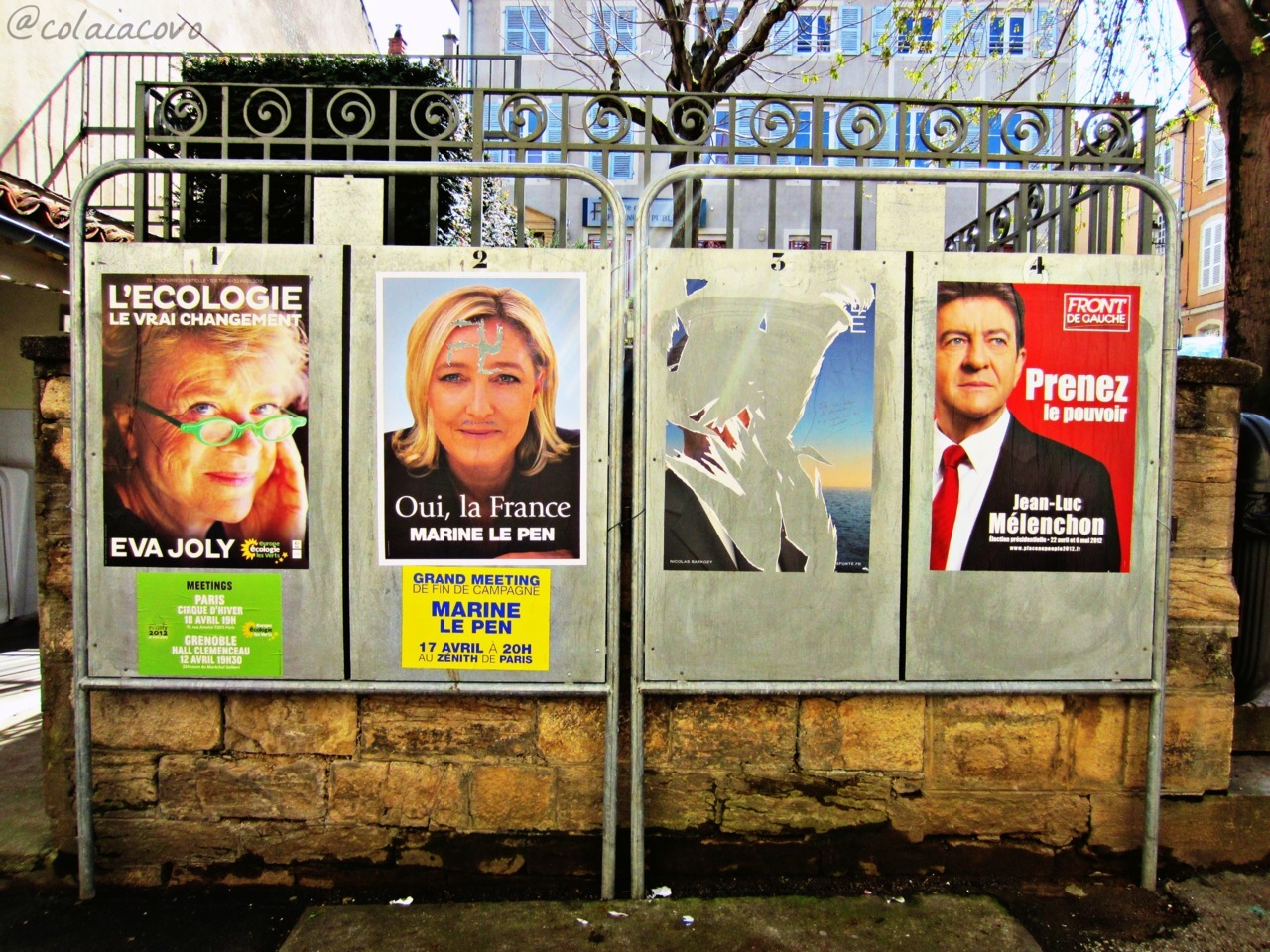 3hundredandsixty6days:  —It's election time in France The torn poster? Why that of Nicolas Sarkozy, of course. This country's love for their current President is overwhelming…