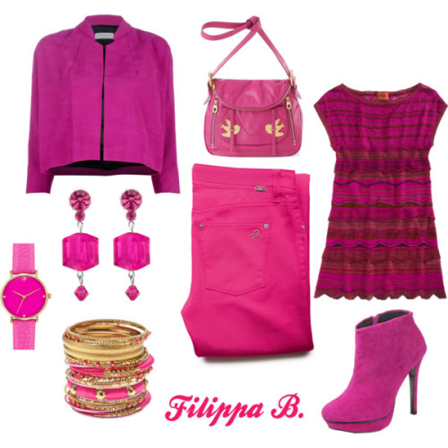 So Pink by filippa-marie-bastone featuring post earringsMissoni cap sleeve dress, $1,525Dries Van Noten cropped jacket, £529DL1961 Premium Denim slim fit jeans, $158Marc by Marc Jacobs crossbody handbag, $438Kate spade jewelry, $175Amrita Singh 18k jewelry, $150Tarina Tarantino post earrings, $45