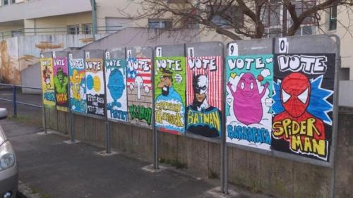 wonderfulcaricatureof-intimacy:  French electoral billboards redecorated.  well, now it's way easier to make a choice !