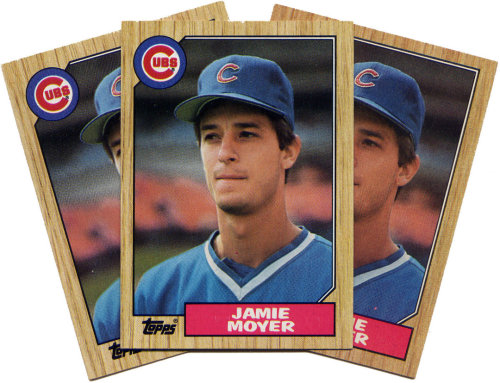 hikergirl:  talix18:  mlboffseason:  Jamie Moyer's 1st Win June 16, 1986, Wrigley Field Cubs - 7 Phillies - 5 WP - Jamie Moyer -   6.1 IP,  8 H, 5 R, 4 ER, 3 K, 2 BB LP - Steve Carlton -  3.2 IP,  6 H, 4 R, 4 ER, 4 K, 2 BB S - Lee Smith Attendance: 20,614 Players also in the game that day: Mike Schmidt, Juan Samuel, Kent Tekulve, Davey Lopes, Shawon Dunston, Ryne Sandberg, and Keith Moreland Starting pitchers around MLB on June 16, 1986: Frank Tanana, Charlie Hough, Kirk McCaskill, Doyle Alexander, Roger Clemens, Ron Guidry, Bud Black, Rick Rhoden, and Andy Hawkins (Dan Quisenberry and Todd Worrell each earned a save that day, as well.) (Image of Moyer's 1987 Topps card - his rookie card - is courtesy of baseballtoaster.com)  More Moyer goodness, DaP.  Moyer's career has lasted as long as my post-high school life.  So far.  ETA: Lee Smith!  I remember when he was first with the Cubs. Good times… Gooood times.This was a month after I graduated from high school.  Let's go Rockies!