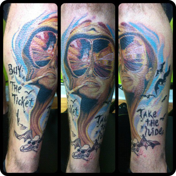 fuckyeahtattoos:  Buy the ticket, Take the ride. I had a lot of fun tattooing this piece. Client sat like a champ, but had goosebumps by the end of the session. Done by White Trash Matt. Low Tide Tattoos. 1905 Municipal Lane Melbourne Florida. 321-726-8433. Instagram- WhiteTrashMatt Facebook.com/LowTideTattoosFlorida Facebook.com/WhiteTrashMatt www.LowTideTattoos.com Twitter- @WhiteTrashMatt