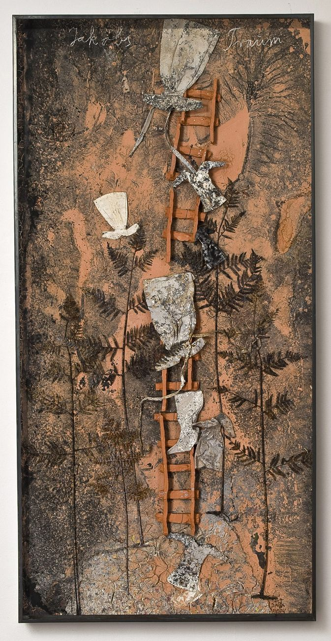 ANSELM KIEFER Jakobs Traum   2010  Paint, clay, ash, and chalk on board with iron, resin ferns, cotton and linen dresses, and ceramic ladder 280 x 140 cm   http://www.lorcanoneill.com/site/elencoLavoriArtista.php?idArtista=7