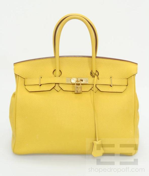 An Hermes Birkin has landed at eDrop-Off! Click here to bid: Hermes Yellow Clemence Leather & 22K Gold Plated 35cm Birkin Bag