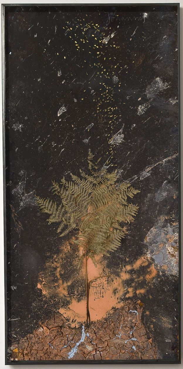 ANSELM KIEFER Johannis   2010  Paint, clay, chalk and lead on board with resin gold leafed seeds and fern 280 x 140 cm   http://www.lorcanoneill.com/site/elencoLavoriArtista.php?idArtista=7