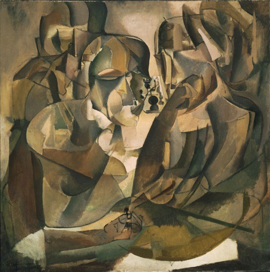 "The art: Marcel Duchamp, Portrait of Chess Players, 1911. The news: ""At a Brooklyn School, The Cool Crowd Pushes the King Around,"" by Anne Barnard and Dylan Loeb McClain for the New York Times. The source: Collection of the Philadelphia Museum of Art. Duchamp loved chess and even created his own personal pocket chess set. Duchamp wasn't the only artist of his generation fascinated by the game: Max Ernst designed chess pieces too, complete with a twist on the historical norm."