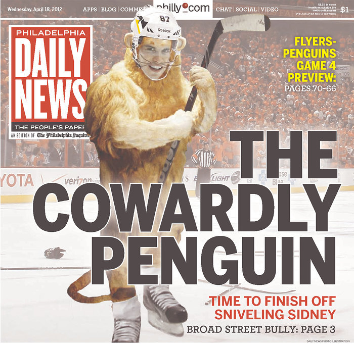 "nationalpostsports:  Sidney Crosby is a ""Cowardly Penguin"" … according to a very unbiased Philadelphia news outlet."
