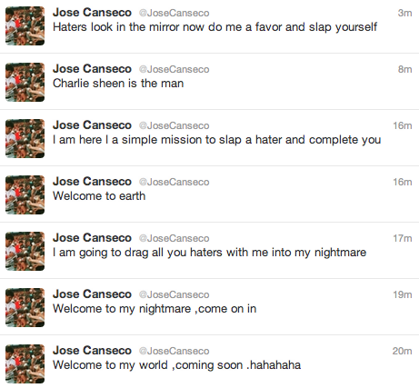 Jose Canseco's 7 best tweets from the last 20 minutes. Jose Canseco's haters are setting a retweet record today.