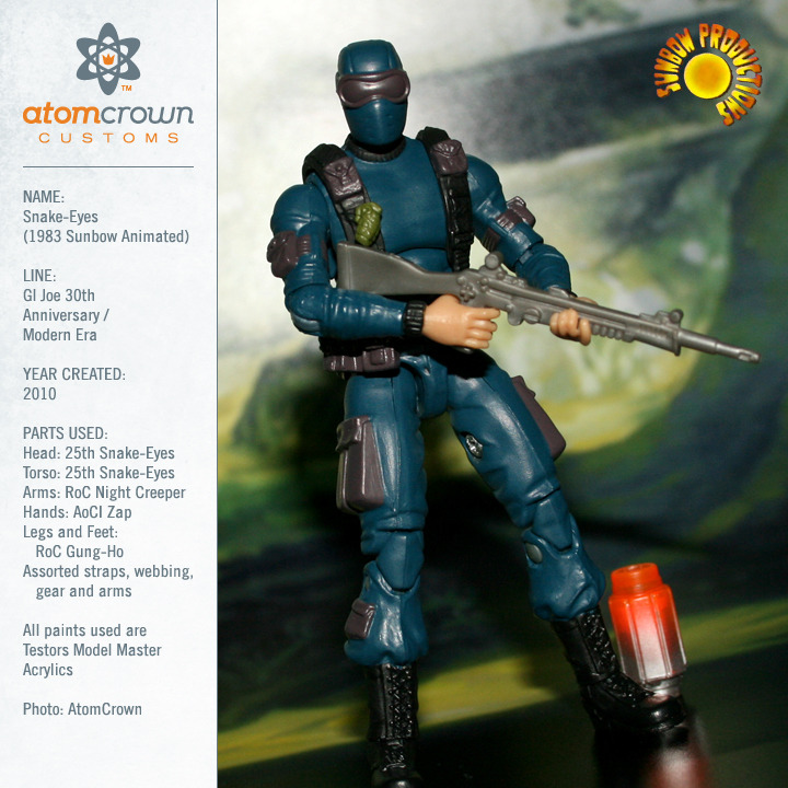 Ever wonder why Snake-Eyes was a blue commando and a purple ninja in the Sunbow produced GI Joe cartoon series?