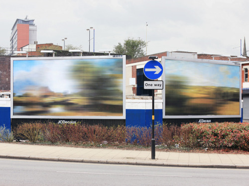new-aesthetic:  Blurred billboards by Ben Long, via It's Nice That, submitted by Joe C.  Specifically, variations on Dedham Lock and Mill & Stour Valley and Dedham Church by John Constable. (I wonder whether Turner's work would have been more appropriate?)