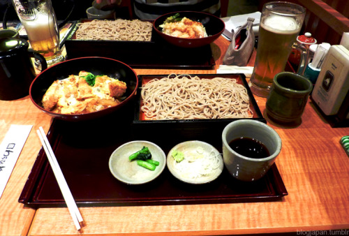 Real soba! (Ten Don set-back and Tonkatsu set-front)