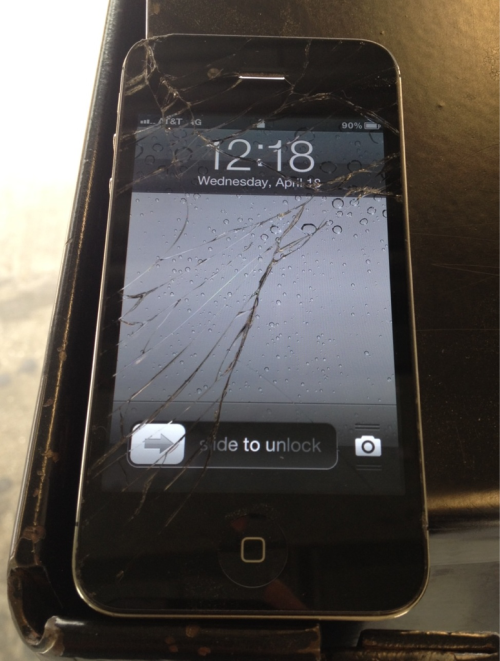 My iPhone's screen is shattered. That's what I get for taking a photo of myself with the reverse camera.