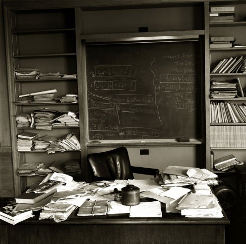 enteekaygee:  Albert Einstein's office at the Institute for Advanced Study, Princeton, photographed on the day of his death, April 18, 1955. (via Einstein's Office: LIFE Magazine)  I wonder who they gave it too…