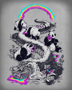PANDAS MAKE RAINBOWS BLEED Please help score on threadless! http://www.threadless.com/submission/418350/Pandas_Make_Rainbows_Bleed