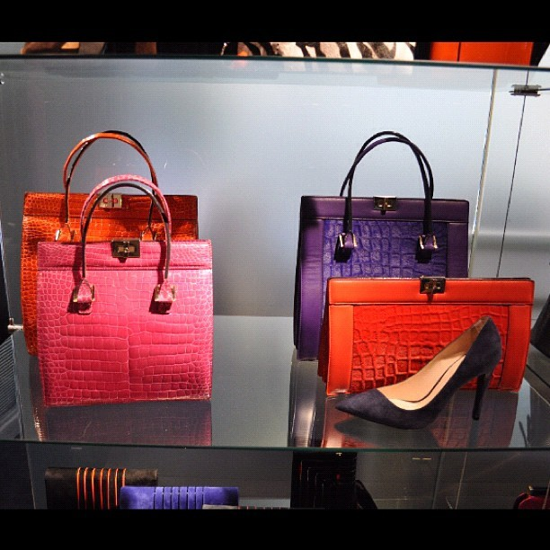 Armani Fall 2012 colourful croc totes and clutches  (Taken with instagram)