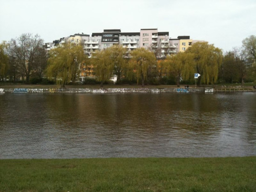 Sitting on the banks of a Berlin canal right in the city center.