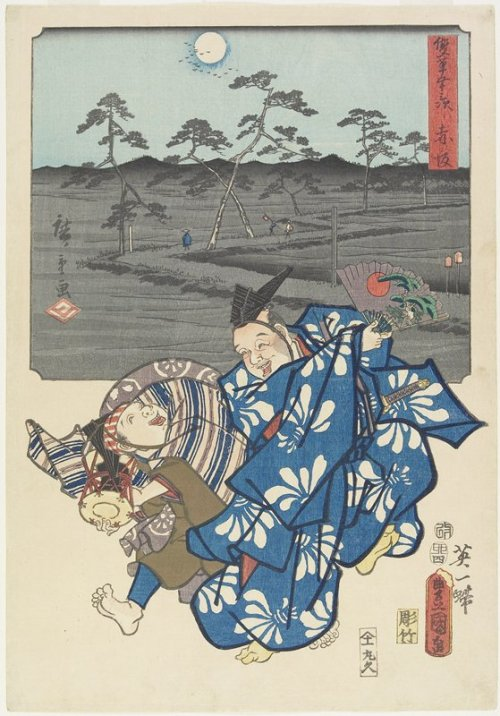 centuriespast:  kasakaARTIST:Hiroshige Utagawa Kunisada Utagawa Kyu_shiro_ MaruyaDATE:April 1855 The Minneapolis Institute of Arts