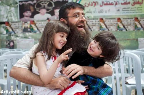Palestinian political prisoner and hunger striker Khader Adnan was reunited with his children in Jenin today, April 18, 2012.