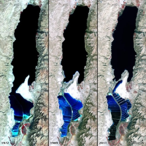 NASA photos show Dead Sea dyingThanks to massive water-diversion and salt-evaporation projects, satellite images show how the ancient lake is gradually living up to its name.