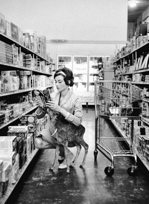 darklamb:  Audrey Hepburn with her pet deer, grocery shopping. No big deal. (via howtobearetronaut)
