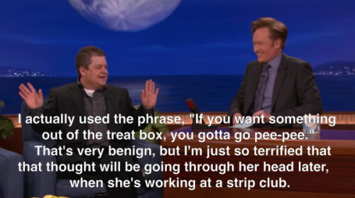 Patton Oswalt was on Conan last night to promote this Saturday's Comedy Central premiere of Finest Hour. Click the image to watch him talk about potty training his daughter, then click here to watch previews from the special. Patton Oswalt: Finest Hour airs Saturday at 10/9c followed by the world premiere of Paul F. Tompkins: Laboring Under Delusions.  [comedycentral]