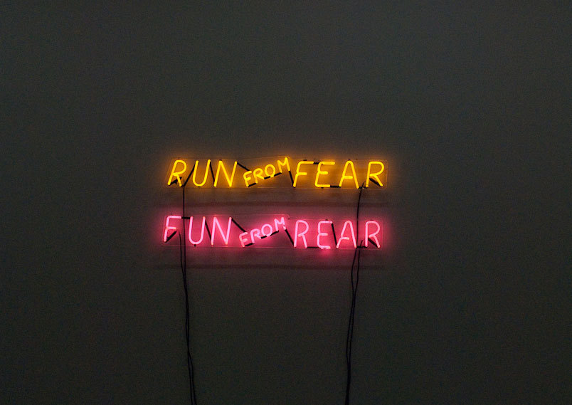 "darksilenceinsuburbia:  Bruce Nauman.  Run from Fear, Fun from Rear, 1972.  Neon tubing with clear glass tubing suspension frame, two parts, 8 x 24 x 2-1⁄2"" each; Ed. 4/6.  Museum of Contemporary Art, Chicago, Gerald S. Elliott Collection, © Bruce Nauman / SODRAC, 2007."