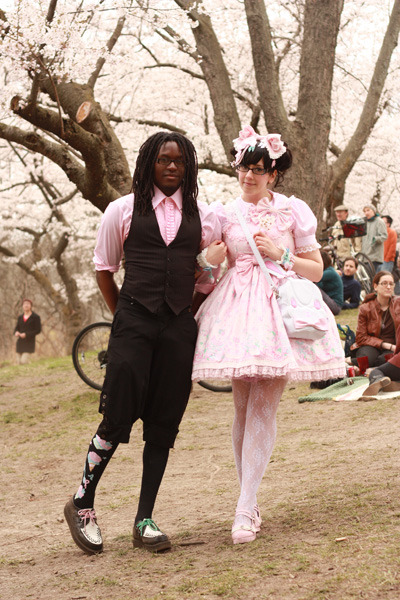 cadney:  Trumaine and I at the Cherry Blossom Viewing! (´ε` )♡  Adorable lolita couple! :D